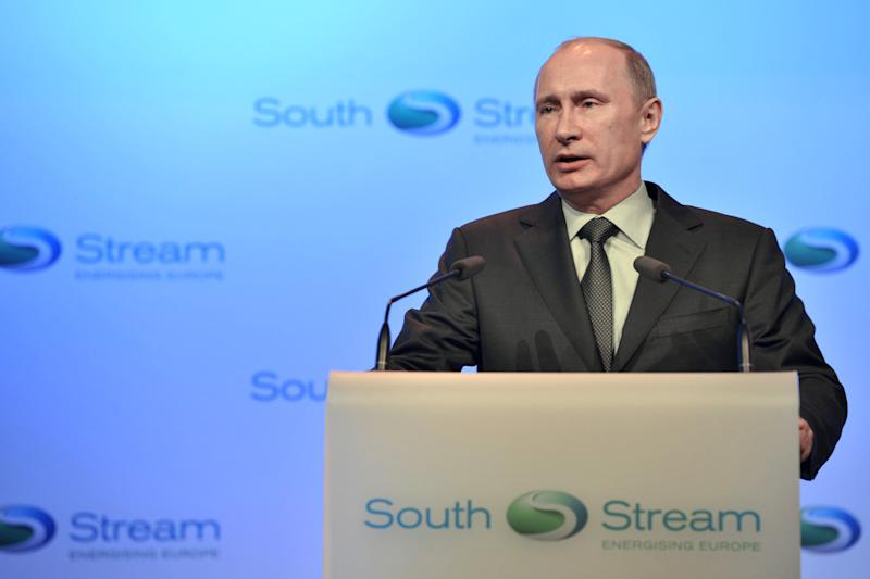 Russian President Vladimir Putin speaks at a launching ceremony of the construction of South Stream pipeline in the Black Sea resort of Anapa, southern Russia, Friday, Dec. 7, 2012. After years of delays and negotiations, Russian gas company Gazprom on Friday formally started construction of its Europe-bound South Stream pipeline, key to its strategy of eliminating shipping risks by bypassing transit nations like Ukraine. (AP Photo/RIA-Novosti, Alexei Nikolsky, Presidential Press Service)