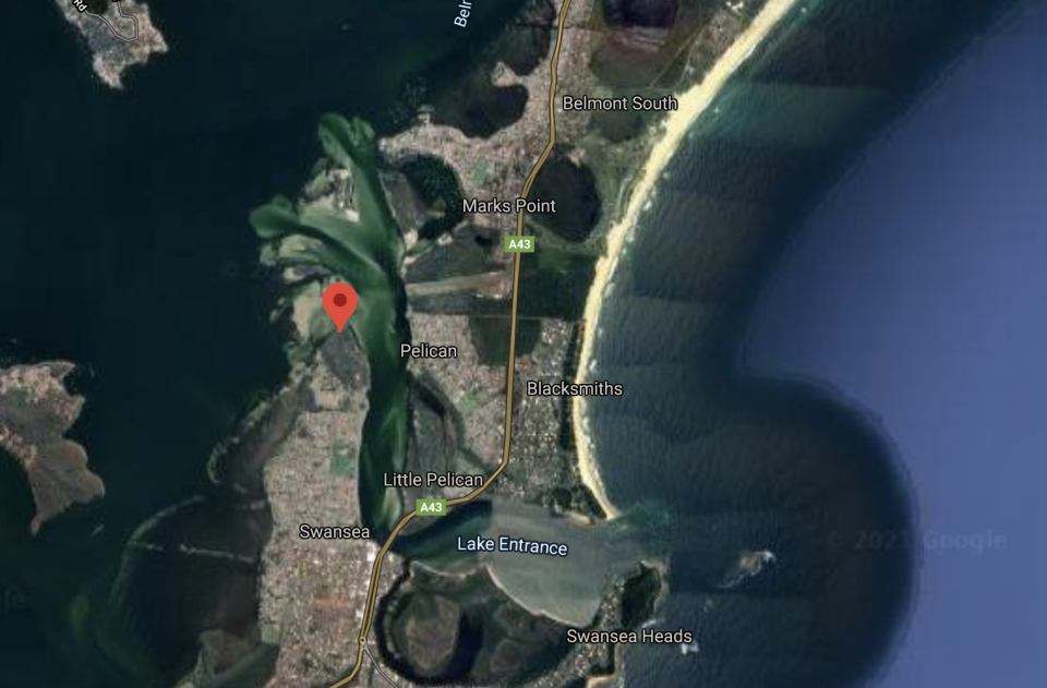 Coon Island Point is seen on a Google Map.