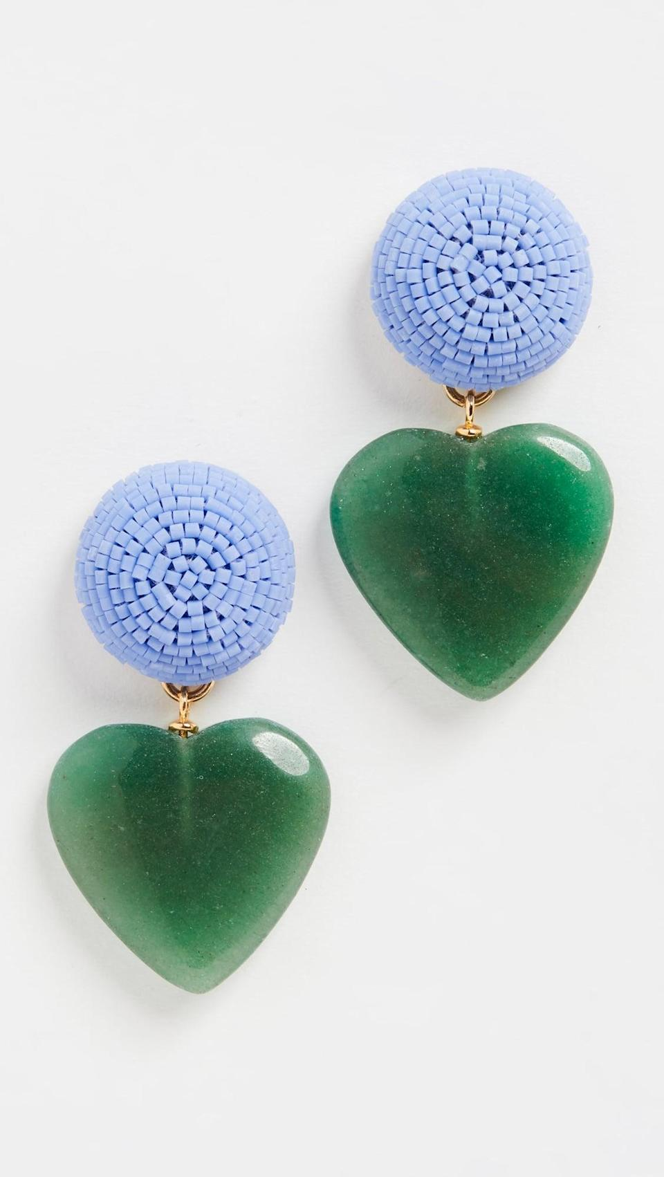 <p>How cute are these <span>Lizzie Fortunato Blue Crush Earrings</span> ($195)? We love the color combination, and of course the hearts.</p>