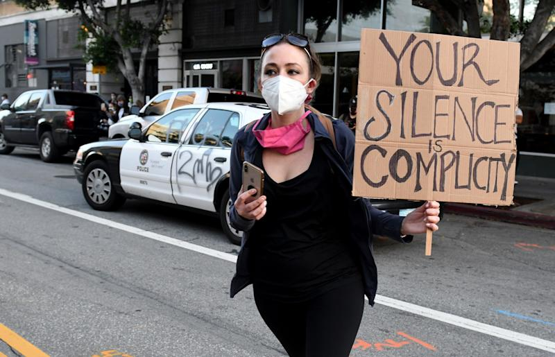 A demonstrator protests the death of George Floyd in Los Angeles on May 28, 2020.  (Photo: MediaNews Group/Pasadena Star-News via Getty Images via Getty Images)