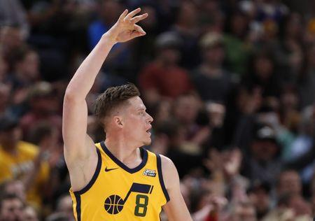 Apr 5, 2018; Salt Lake City, UT, USA; Utah Jazz forward Jonas Jerebko (8) reacts to his three-pointer in the second quarter against the LA Clippers at Vivint Smart Home Arena. Mandatory Credit: Jeff Swinger-USA TODAY Sports