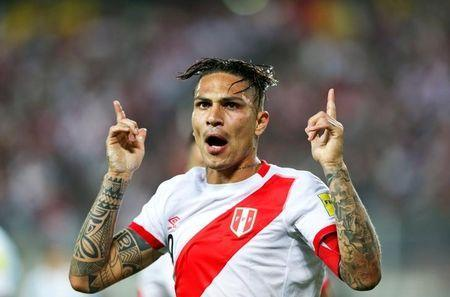 FILE PHOTO: Football Soccer - World Cup 2018 Qualifier - Argentina v Peru - Nacional Stadium, Lima, Peru - 06/10/2016 - Peru's Paolo Guerrero celebrates after scoring. REUTERS/Mariana Bazo/File Photo
