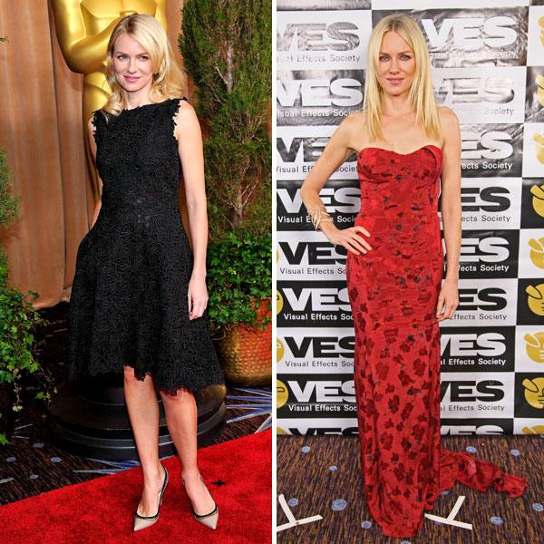 "<b>Naomi Watts <br></b><br>The Impossible actress dazzled in a black lace Valentino frock at the <a target=""_blank"" href=""http://uk.lifestyle.yahoo.com/photos/oscar-nominees-luncheon-red-carpet-fashion-slideshow/"">Oscar nominees luncheon</a> and in red floral Zac Posen at the 11th Annual Visual Effects Society Awards in LA.<br><br>Images © Rex / Getty"