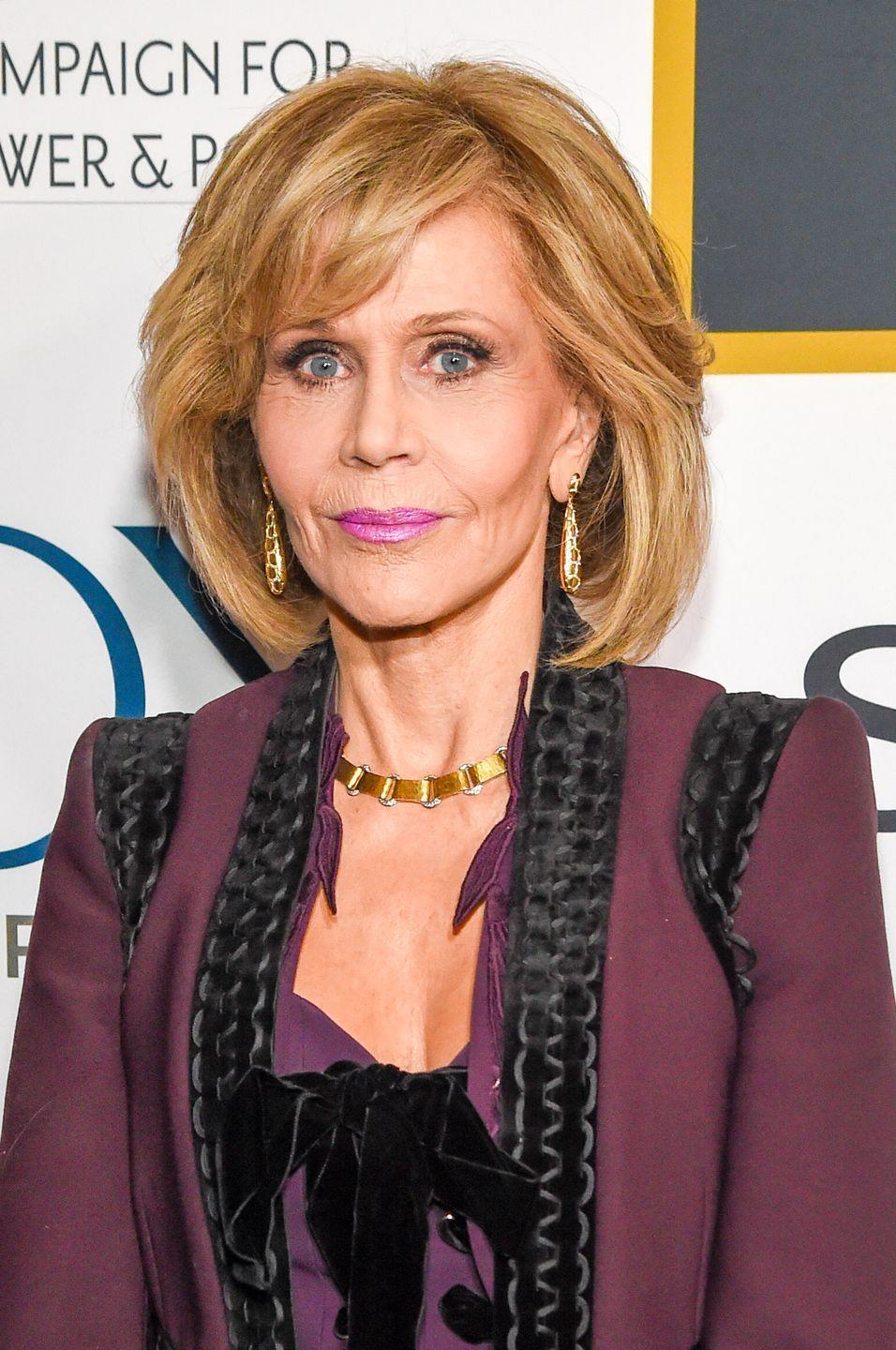 """<p>In 2010, the acting legend candidly wrote about plastic surgery on <a href=""""https://www.janefonda.com/category/my-blog/"""" rel=""""nofollow noopener"""" target=""""_blank"""" data-ylk=""""slk:her blog"""" class=""""link rapid-noclick-resp"""">her blog</a>: """"Bob Evans complimented me on my new, short haircut, and I said: 'Thanks. I just had some 'work' done on my chin and neck and had the bags taken away from under my eyes so I decided it would be good to get a new hair cut so people will think it's my new hair.' He thought that was so funny he actually toasted me for doing what he said he'd never heard anyone do before: admit they'd had work done. I was planning on blogging about it anyway, so who cares? Now, I look more like how I feel. I'm glad I did it.""""</p>"""
