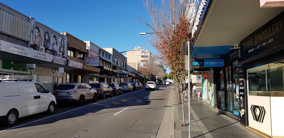 Blacktown, New South Wales / Australia - July 20, 2019: Main Street Blacktown and surrounds, retail and commercial areas, with transport hub and Flushcombe Road