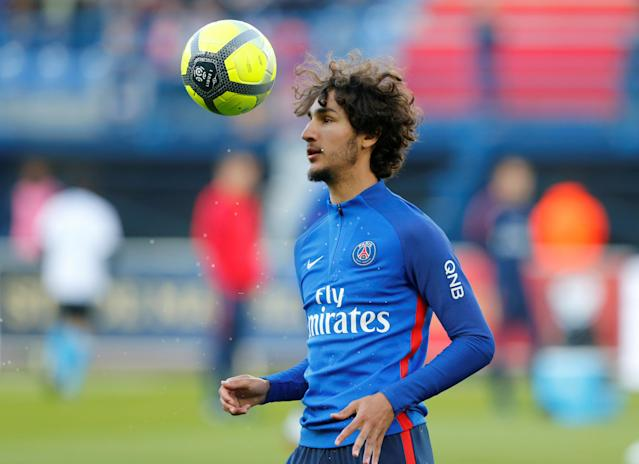 Soccer Football - Ligue 1 - Caen vs Paris St Germain - Stade Michel d'Ornano, Caen, France - May 19, 2018 Paris Saint-Germain's Yacine Adli during the warm up before the match REUTERS/Pascal Rossignol