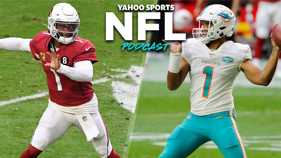 Sunday's 31-34 shootout between the Arizona Cardinals & Miami Dolphins showed the immense promise of the teams' young quarterbacks, Kyler Murray (L) and Tua Tagovailoa (R). (Photos L to R by Norm Hall/Chris Coduto/Getty Images)