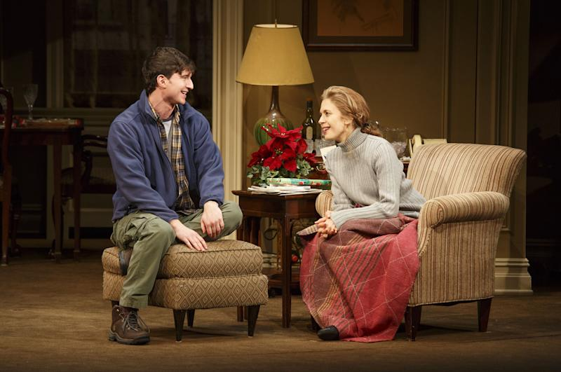 """This theater publicity image released by Boneau/Bryan-Brown shows Jake Silbermann, left, and Jessica Hecht in a scene from """"The Assembled Parties, playing at the Samuel J. Friedman Theatre in New York. (AP Photo/Boneau/Bryan-Brown, Joan Marcus)"""