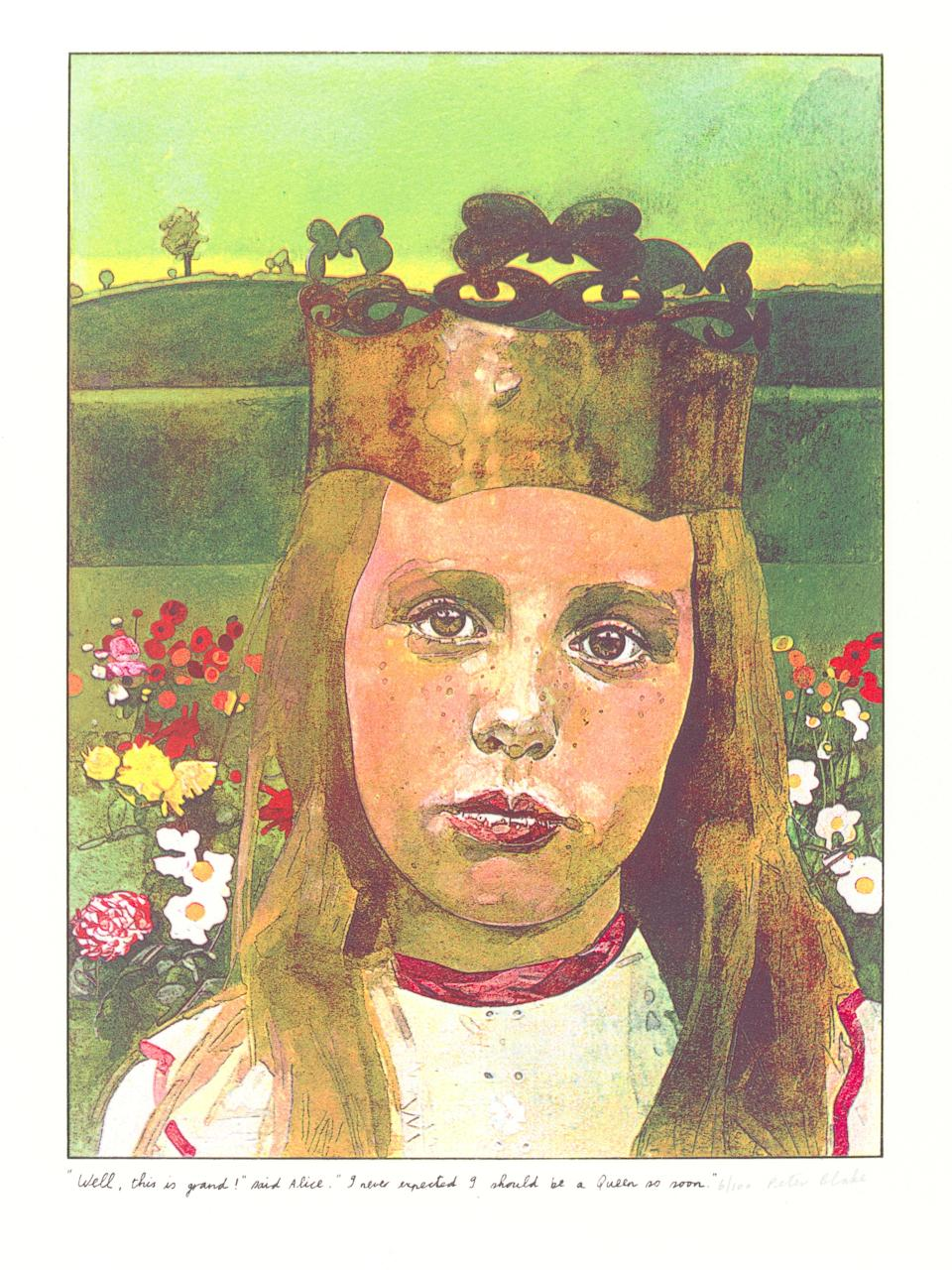 """Print By Peter Blake from the suite illustrating """"Alice in Wonderland""""©Victoria & Albert Museum"""