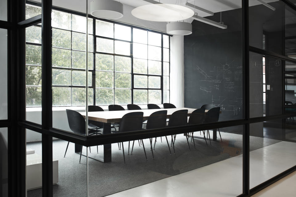 Modern conference room with chairs and table in office