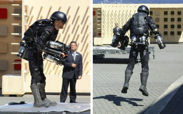 Richard Browning demonstrates his Iron Man suit in Vancouver