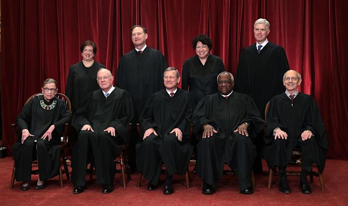 The Roberts court: front row from left, Justices Ruth Bader Ginsburg, Anthony Kennedy, Chief Justice John Roberts, Clarence Thomas, and Stephen Breyer; back row from left, Justices Elena Kagan, Samuel Alito Jr., Sonia Sotomayor, and Neil Gorsuch on June 1, 2017. (Photo: Alex Wong/Getty Images)