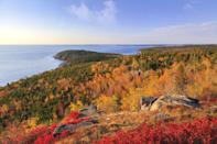 """<p><strong>Where to go:</strong> Acadia National Park offers stunning views of both the Atlantic and turning trees, like this view from Otter Point on top of Gorham Mountain. You can also drive along the Black Woods Scenic Byway to see the blueberry barrens turn scarlet (and eat lots of pie). </p><p><strong>When to go: </strong><a href=""""https://www.maine.gov/dacf/mfs/projects/fall_foliage/index.shtml"""" rel=""""nofollow noopener"""" target=""""_blank"""" data-ylk=""""slk:Mid- or Late October"""" class=""""link rapid-noclick-resp"""">Mid- or Late October</a></p><p><a class=""""link rapid-noclick-resp"""" href=""""https://go.redirectingat.com?id=74968X1596630&url=https%3A%2F%2Fwww.tripadvisor.com%2FHotels-g143010-Acadia_National_Park_Mount_Desert_Island_Maine-Hotels.html&sref=https%3A%2F%2Fwww.redbookmag.com%2Flife%2Fg34045856%2Ffall-colors%2F"""" rel=""""nofollow noopener"""" target=""""_blank"""" data-ylk=""""slk:FIND A HOTEL"""">FIND A HOTEL</a></p>"""