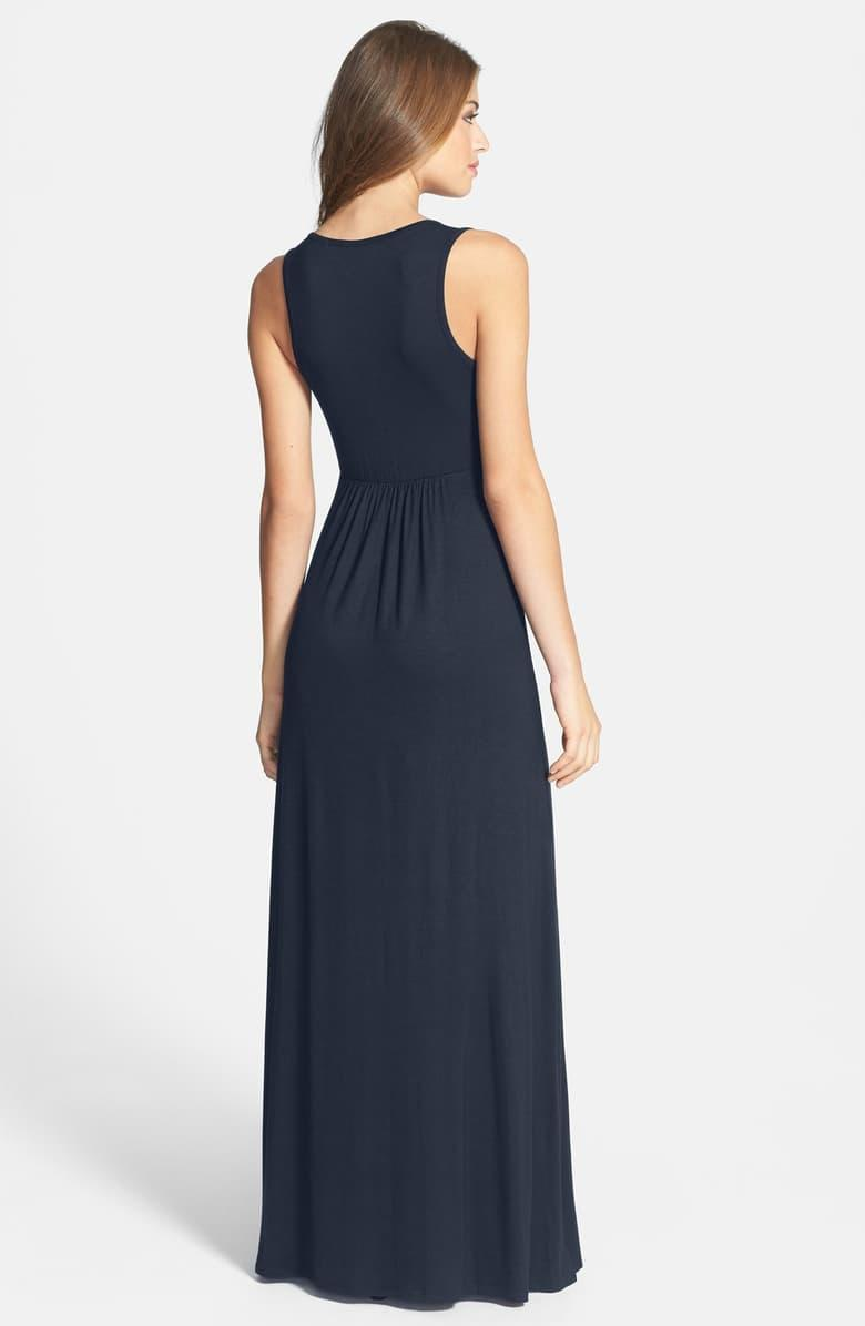 Loveappella V-neck Jersey Maxi Dress in midnight