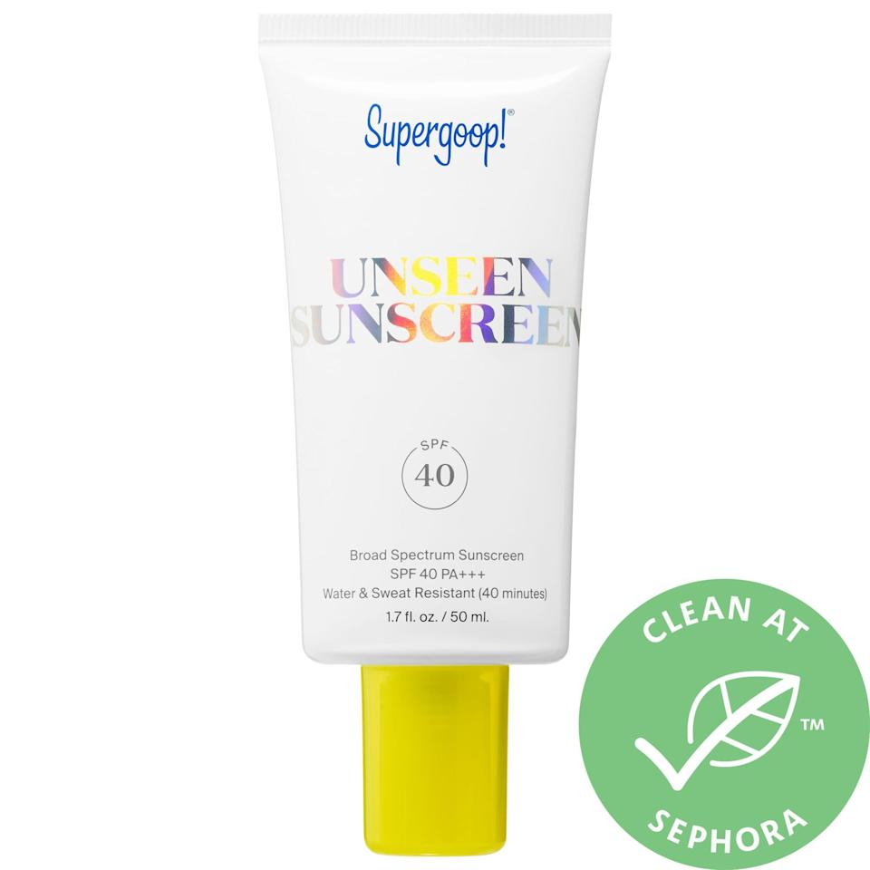 """<p><strong>Supergoop!</strong></p><p>sephora.com</p><p><strong>$34.00</strong></p><p><a href=""""https://go.redirectingat.com?id=74968X1596630&url=https%3A%2F%2Fwww.sephora.com%2Fproduct%2Fsupergoop-unseen-sunscreen-spf-40-P454380&sref=https%3A%2F%2Fwww.townandcountrymag.com%2Fstyle%2Fbeauty-products%2Fg27889502%2Fbest-face-sunscreen%2F"""" rel=""""nofollow noopener"""" target=""""_blank"""" data-ylk=""""slk:Shop Now"""" class=""""link rapid-noclick-resp"""">Shop Now</a></p><p>True to its name, this fragrance-free chemical filter goes on totally clear and weightless, so it won't leave a chalky cast on even the darkest skintones. Even better, they also make a light-reflecting <a href=""""https://go.redirectingat.com/?id=74968X1525087&xs=1&url=https%3A%2F%2Fwww.dermstore.com%2Fproduct_Glowscreen%2BSPF%2B40_82997.htm&sref=https%3A%2F%2Fwww.townandcountrymag.com%2Fstyle%2Fbeauty-products%2Fg27889502%2Fbest-face-sunscreen%2F&xcust=%5Butm_source%7C%5Butm_campaign%7C%5Butm_medium%7C%5Bgclid%7C%5Bmsclkid%7C%5Bfbclid%7C%5Brefdomain%7Cgoogle.com%5Bcontent_id%7C6c8c8a93-4966-4702-a3ae-4a1d046c6ee3%5Bcontent_product_id%7C%5Bproduct_retailer_id%7C"""" rel=""""nofollow noopener"""" target=""""_blank"""" data-ylk=""""slk:Glow"""" class=""""link rapid-noclick-resp"""">Glow</a> formula for those seeking extra dewiness, a <a href=""""https://go.redirectingat.com/?id=74968X1525087&xs=1&url=https%3A%2F%2Fwww.dermstore.com%2Fproduct_Mattescreen%2BSPF%2B40_77033.htm&sref=https%3A%2F%2Fwww.townandcountrymag.com%2Fstyle%2Fbeauty-products%2Fg27889502%2Fbest-face-sunscreen%2F&xcust=%5Butm_source%7C%5Butm_campaign%7C%5Butm_medium%7C%5Bgclid%7C%5Bmsclkid%7C%5Bfbclid%7C%5Brefdomain%7Cgoogle.com%5Bcontent_id%7C6c8c8a93-4966-4702-a3ae-4a1d046c6ee3%5Bcontent_product_id%7C%5Bproduct_retailer_id%7C"""" rel=""""nofollow noopener"""" target=""""_blank"""" data-ylk=""""slk:Matte"""" class=""""link rapid-noclick-resp"""">Matte</a> version to combat shine, and an <a href=""""https://www.sephora.com/product/supergoop-mineral-sheerscreen-spf-30-pa-P470057"""" rel=""""nofollow noopener"""" target=""""_blank"""" d"""
