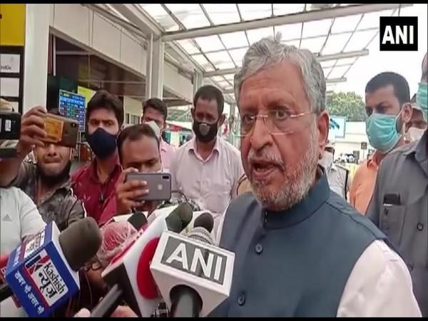 Bihar Deputy Chief Minister Sushil Modi speaking to reporters in Patna on Wednesday. Photo/ANI