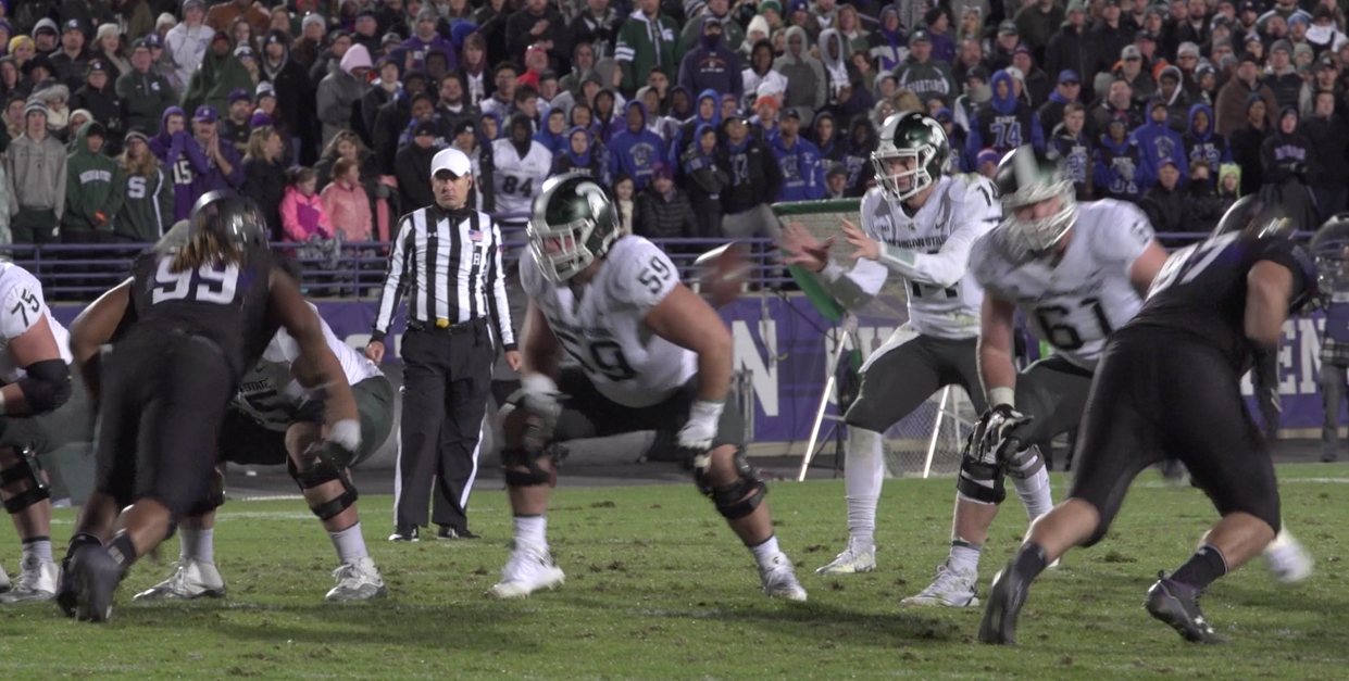 A field-angle look at Northwestern's game-winning play against Michigan State in 2017, with Gaziano on the right.