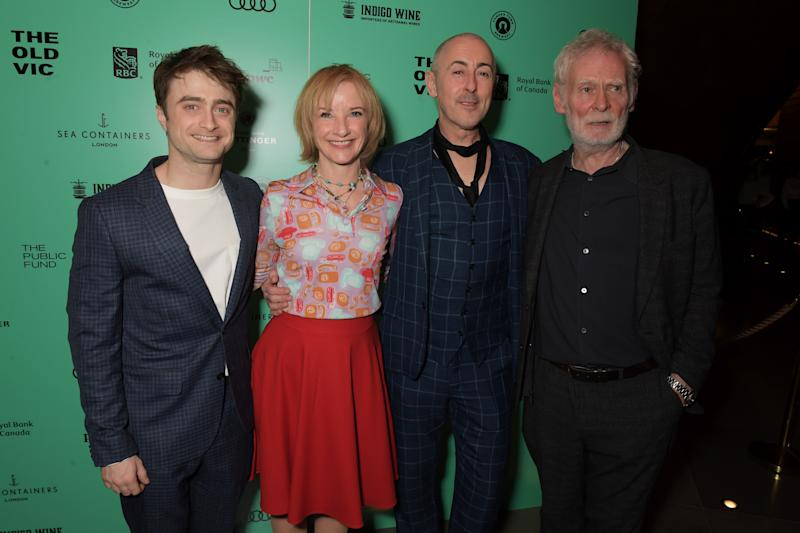 "LONDON, ENGLAND - FEBRUARY 04: (L to R) Daniel Radcliffe, Jane Horrocks, Alan Cumming and Karl Johnson attend the press night after party for ""Endgame"" at Sea Containers on February 4, 2020 in London, England. (Photo by David M. Benett/Dave Benett/Getty Images)"
