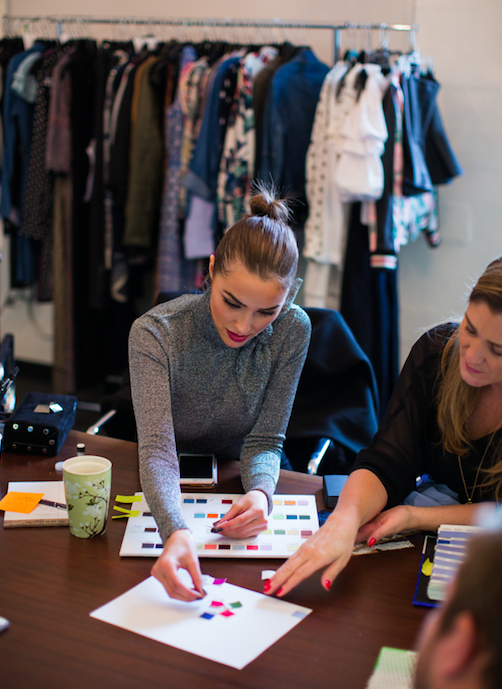 Olivia hard at work in the design process of her collection.