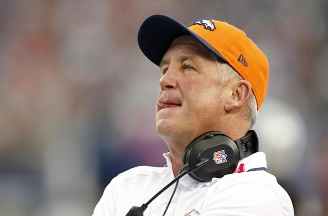 FILE - In this Oct. 6, 2013 file photo,Denver Broncos head coach John Fox watches during the first quarter of an NFL football game against the Dallas Cowboys, in Arlington, Texas. Fox needs heart surgery and will miss several weeks, team spokesman Patrick Smyth confirmed Saturday night, Nov. 2, 2013. The 58-year-old Fox will undergo aortic valve replacement surgery early next week at a hospital in Charlotte, N.C. (AP Photo/Sharon Ellman, File)