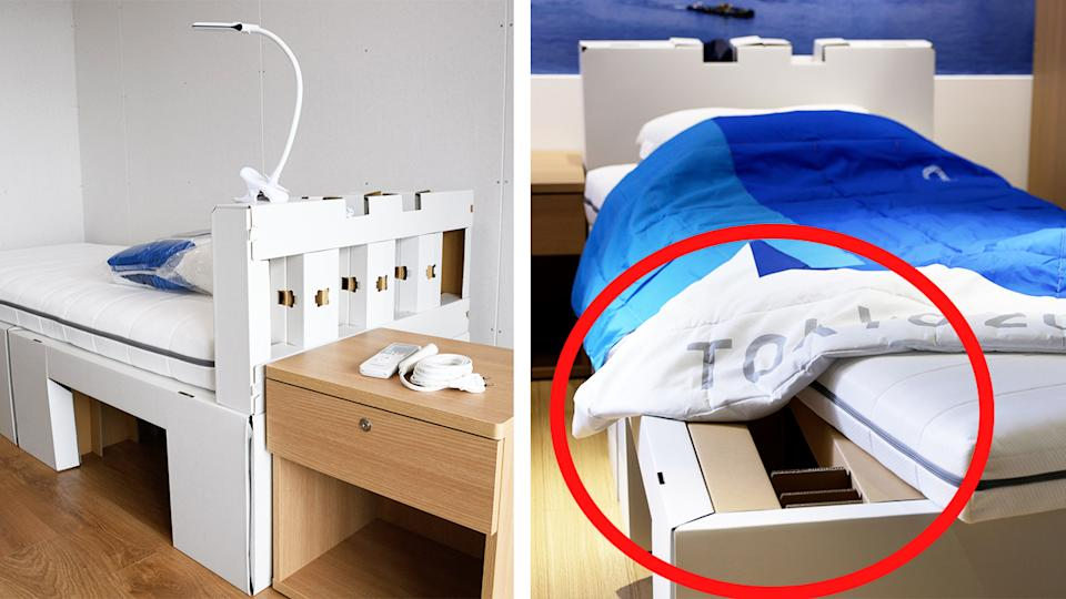 The cardboard beds in the Tokyo Olympic Village for athletes.