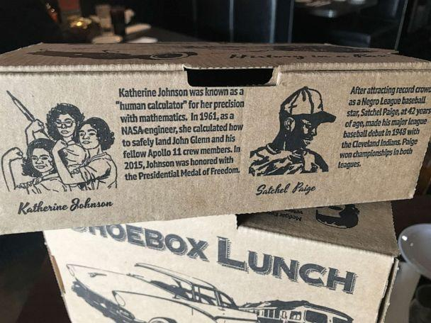 PHOTO: Beans & Cornbread restaurant in Detroit serves 'shoebox lunches' with black history facts about figures such as NASA research mathematician Katherine Johnson and trailblazing pitcher Satchel Paige. (Courtesy Neil Master/Master Advertising)