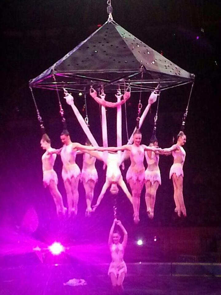 In this photo provided by Frank Caprio, performers hang during an aerial hair-hanging stunt at the Ringling Brothers and Barnum and Bailey Circus, Friday, May 2, 2104, in Providence, R.I. A platform collapsed during an aerial hair-hanging stunt at the 11 a.m. performance Sunday, May 4, sending eight acrobats plummeting to the ground. At least nine performers were seriously injured in the fall, including a dancer below, while an unknown number of others suffered minor injuries. (AP Photo/Frank Caprio) MANDATORY CREDIT