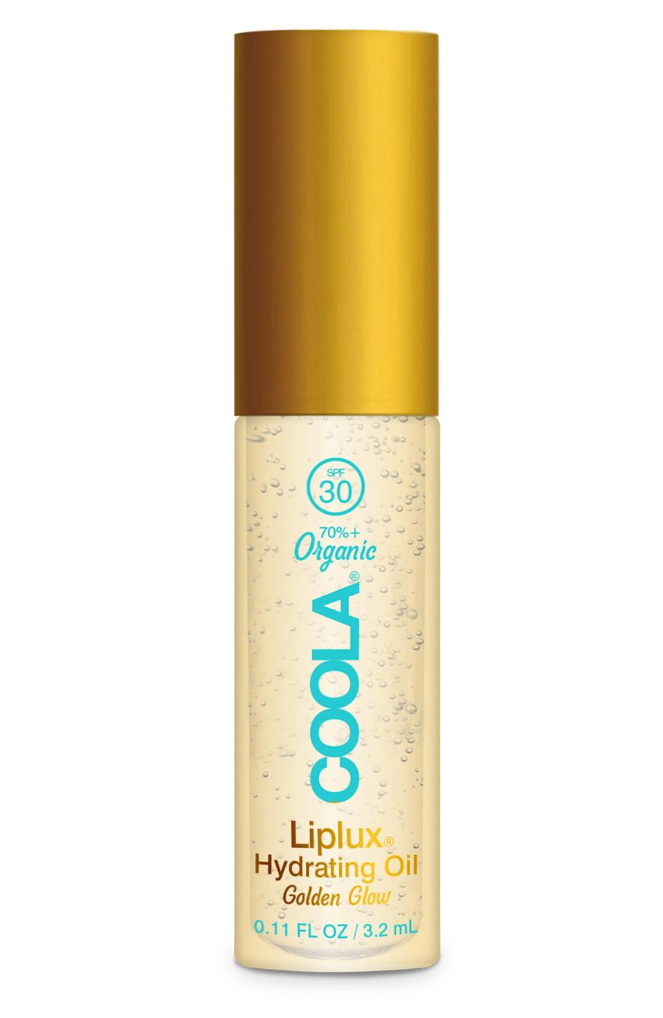 """<p><strong>COOLA</strong></p><p>nordstrom.com</p><p><strong>$18.00</strong></p><p><a href=""""https://go.redirectingat.com?id=74968X1596630&url=https%3A%2F%2Fwww.nordstrom.com%2Fs%2Fcoola-classic-liplux-organic-hydrating-lip-oil-sunscreen-spf-30%2F5814630&sref=https%3A%2F%2Fwww.townandcountrymag.com%2Fstyle%2Fbeauty-products%2Fg36464134%2Flip-balm-with-spf%2F"""" rel=""""nofollow noopener"""" target=""""_blank"""" data-ylk=""""slk:Shop Now"""" class=""""link rapid-noclick-resp"""">Shop Now</a></p><p>The glossy look is back and this gold-tinted oil adds that covetable summery shine along with broad spectrum SPF 30 to make your beach day extra-'grammable. </p><p><strong>More: </strong><a href=""""https://www.townandcountrymag.com/style/beauty-products/g36214042/best-sunscreen-for-dark-skin/"""" rel=""""nofollow noopener"""" target=""""_blank"""" data-ylk=""""slk:The Best Sunscreens for Deep Skin Tones"""" class=""""link rapid-noclick-resp"""">The Best Sunscreens for Deep Skin Tones</a></p>"""