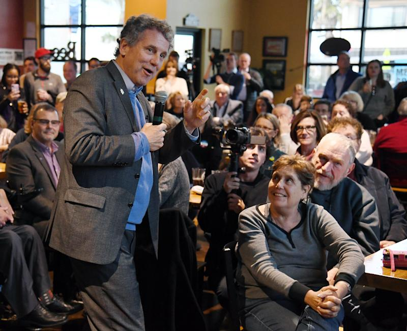 "Sen. Sherrod Brown (D-OH) speaks at the Lovelady Brewing Company as part of the Nevada Democratic Party's lecture series, ""Local Brews + National Views"" on February 23, 2019 in Henderson, Nevada. (Photo: Ethan Miller/Getty Images)"