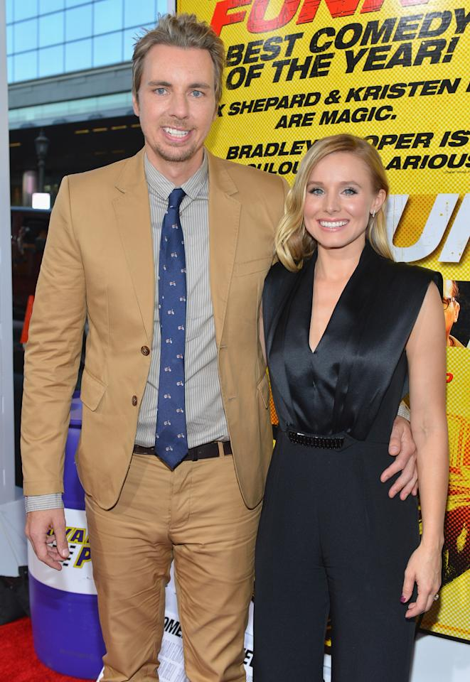 "LOS ANGELES, CA - AUGUST 14:  Actors Dax Shepard and Kristen Bell arrive to the premiere of Open Road Films' ""Hit and Run"" on August 14, 2012 in Los Angeles, California.  (Photo by Alberto E. Rodriguez/Getty Images)"