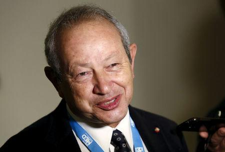 "FILE PHOTO: Egyptian billionaire Sawiris answers journalists' questions during the ""Rome 2015 MED, Mediterranean dialogues"" forum in Rome"