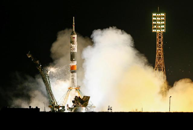 The Soyuz MS-08 spacecraft carrying the crew formed of astronauts Drew Feustel and Ricky Arnold of the U.S and crewmate Oleg Artemyev of Russia blasts off to the International Space Station (ISS) from the launchpad at the Baikonur Cosmodrome, Kazakhstan March 21, 2018. REUTERS/Shamil Zhumatov TPX IMAGES OF THE DAY