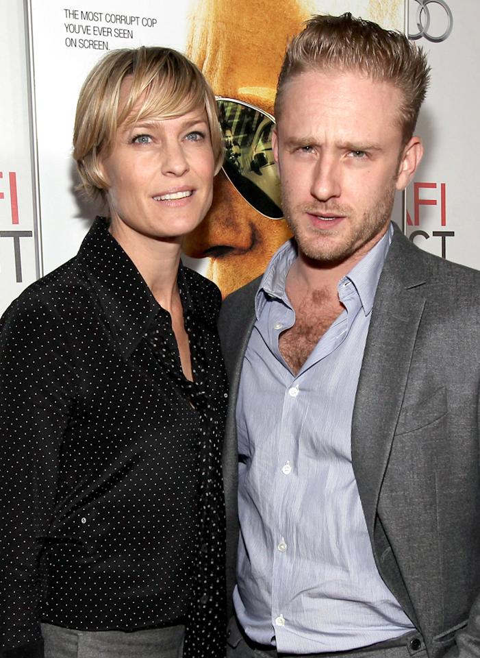 "HOLLYWOOD, CA - NOVEMBER 05:  Actors Robin Wright (L) and Ben Foster arrive at the ""Rampart"" special screening during AFI FEST 2011 presented by Audi at Grauman's Chinese Theatre on November 5, 2011 in Hollywood, California.  (Photo by Christopher Polk/Getty Images for AFI)"