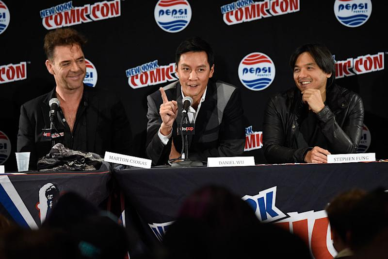 Daniel Wu, Stephen Fung at AMC's 'Into the Badlands' panel at New York Comic Con at Jacob Javits Center on October 10, 2015 in New York City.