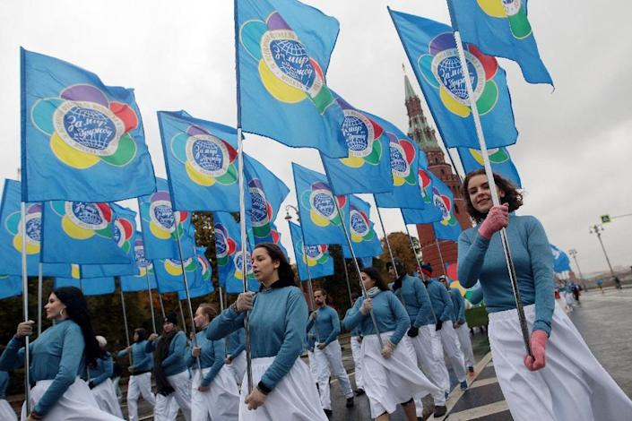 World Festival of Youth and Students opening parade in Moscow on Saturday. AFP PHOTO/TASS /WORLD FESTIVAL OF YOUTH AND STUDENTS (AFP Photo/-)