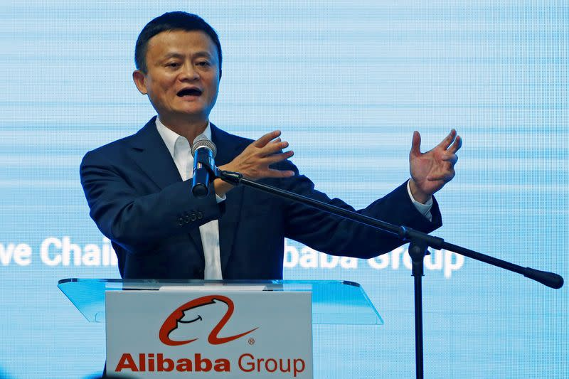 FILE PHOTO: Jack Ma, founder of Chinese e-commerce giant Alibaba, speaks during the launch of Alibaba's office in Kuala Lumpur