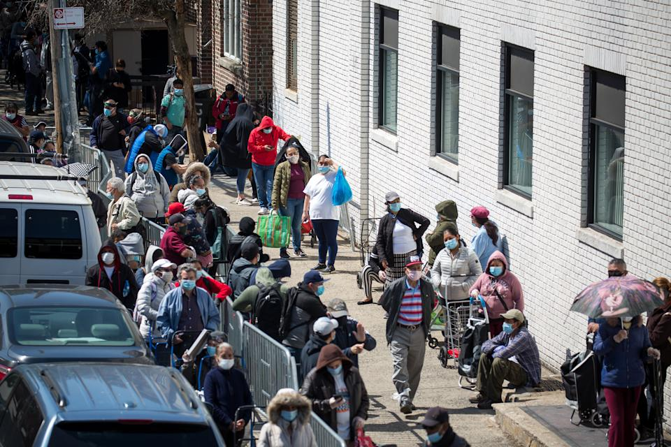 NEW YORK, May 14, 2020 -- People wait to receive food at a food distribution site in the Brooklyn borough of New York, the United States, May 14, 2020.   The number of initial jobless claims in the U.S. stood at 2,981,000 last week. (Photo by Michael Nagle/Xinhua via Getty) (Xinhua/ via Getty Images)