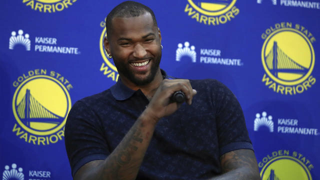 DeMarcus Cousins has plenty of reasons to be happy with his landing spot, but he and his new Warriors teammates will have some things to figure out on the court. (AP Photo)