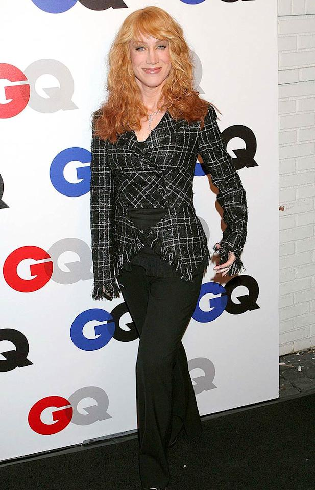 "Emmy-winning funnywoman Kathy Griffin debuts her new 'do upon arriving at the event. The fiery redhead opts for a questionable two-toned look. Carlos Diaz/<a href=""http://www.infdaily.com"" target=""new"">INFDaily.com</a> - December 5, 2007"