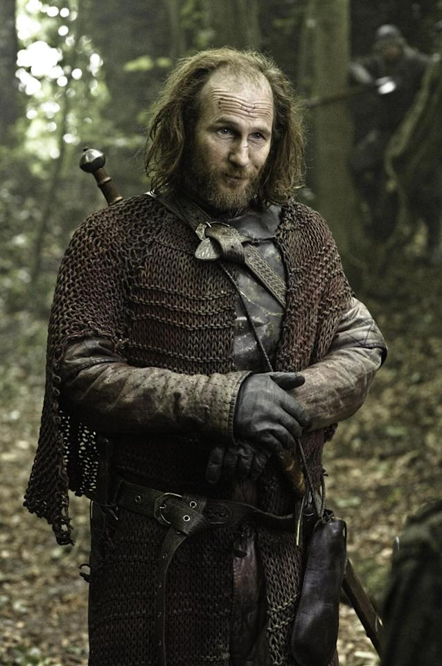 Red priest Thoros (new cast member Paul Kaye) is part of the Brotherhood Without Banners, a group of fighters in the Riverlands.