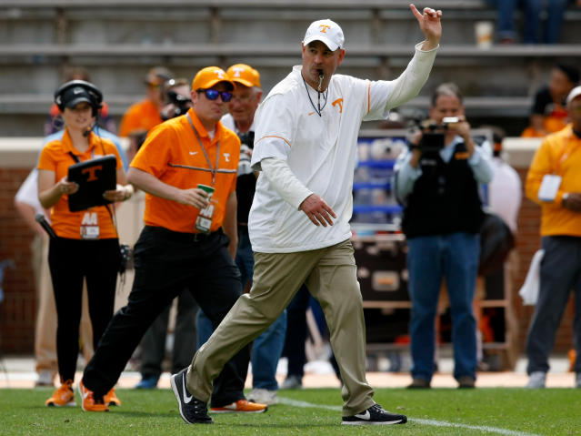 "New Tennessee coach Jeremy Pruitt, the former Alabama coordinator, picked up a transfer from former Alabama lineman <a class=""link rapid-noclick-resp"" href=""/ncaaf/players/252259/"" data-ylk=""slk:Brandon Kennedy"">Brandon Kennedy</a>. (C.B. Schmelter /Chattanooga Times Free Press via AP, File)"