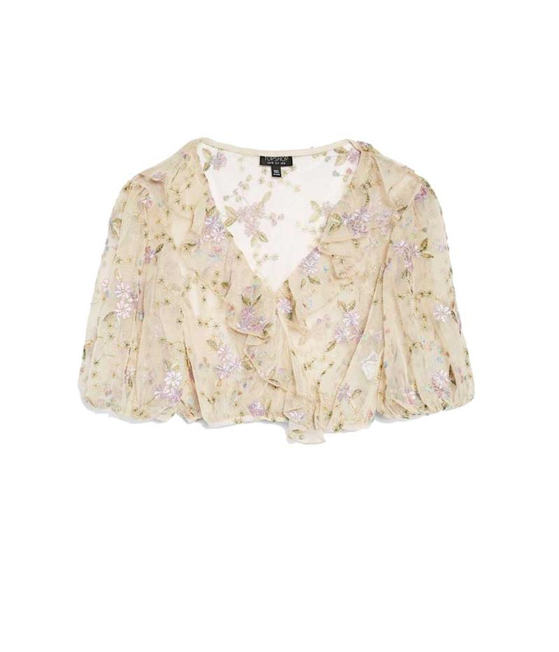 Flora ruffle metallic sheer crop top.