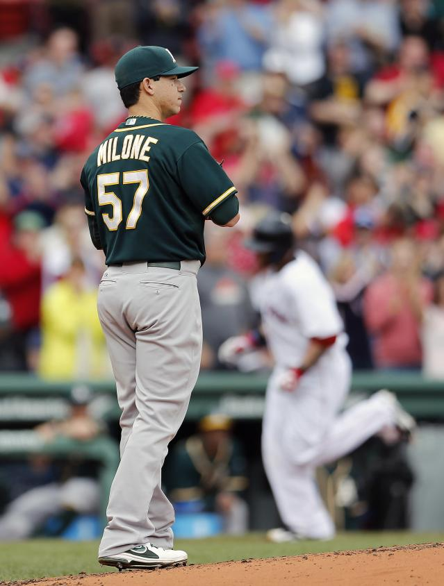 Oakland Athletics' Tommy Milone (57) looks to the outfield as Boston Red Sox's Jonny Gomes, right, rounds third base after hitting a grand slam in the first inning of a baseball game in Boston, Saturday, May 3, 2014. (AP Photo/Michael Dwyer)