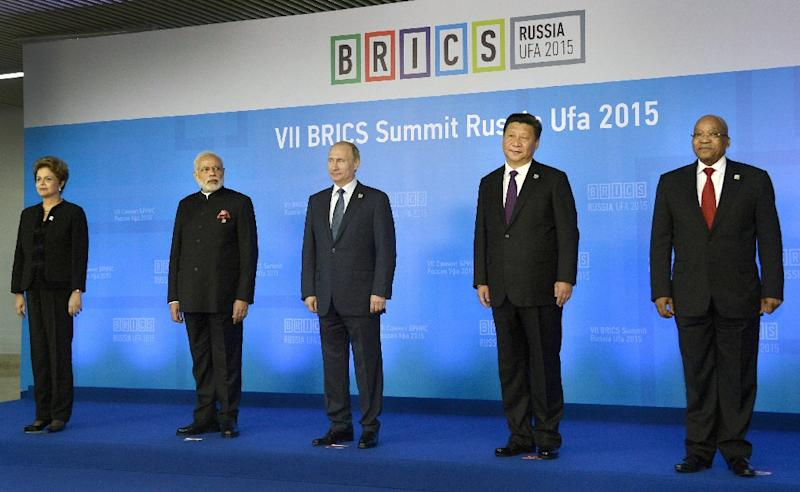 From L: Brazil's President Dilma Rousseff, Indian Prime Minister Narendra Modi, Russia's President Vladimir Putin, China's President Xi Jinping and South Africa's President Jacob Zuma at the 7th BRICS summit in Ufa on July 9, 2015 (AFP Photo/Alexander Nemenov)