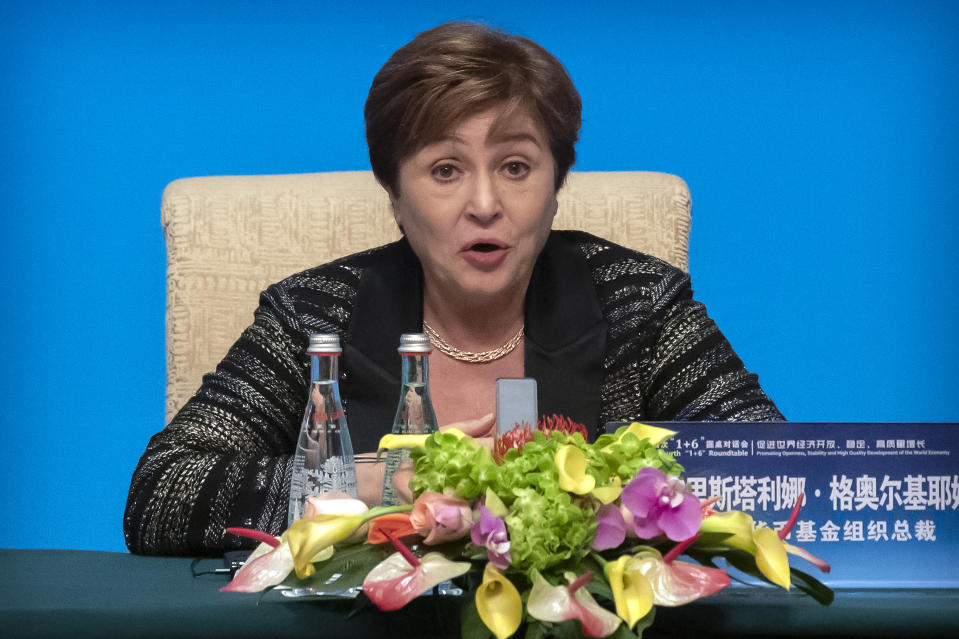 International Monetary Fund (IMF) Managing Director Kristalina Georgieva speaks during a press conference for the the Fourth 1+6 Roundtable Dialogue at the Diaoyutai State Guesthouse in Beijing, Thursday, Nov. 21, 2019. (AP Photo/Mark Schiefelbein)