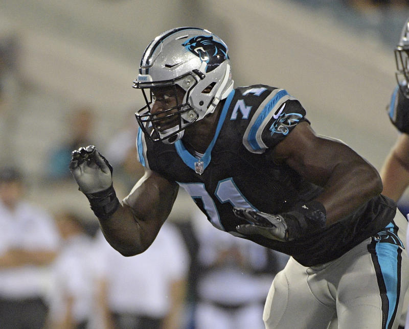 Carolina Panthers defensive end Efe Obada beat long odds to make the Panthers' 53-man roster. (AP)