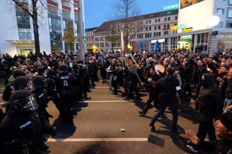 German police face protesters in Leipzig