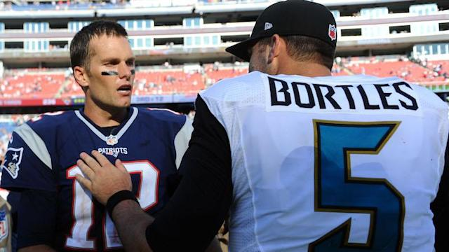 Tom Brady will meet Blake Bortles on Sunday in the AFC championship.