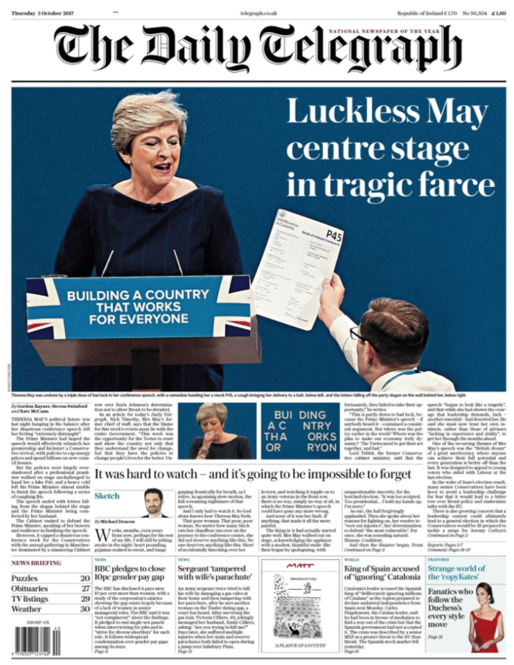 <p>'Luckless May' being handed her P45 dominates The Daily Telegraph's front page. </p>