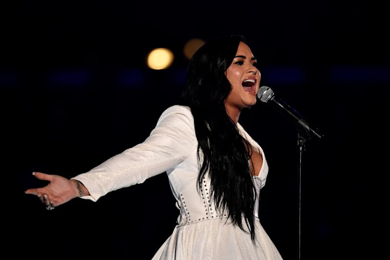 "Demi Lovato performs ""Anyone"" at the 62nd annual Grammy Awards on Sunday"